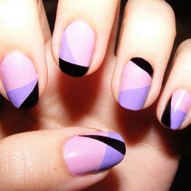 Lilacs and Blacks make great contrast Nail Art #StyleKeeper #Glassons
