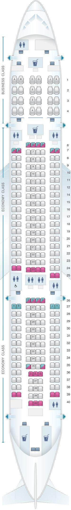 Seat Map Fiji Airways Airbus A330 200