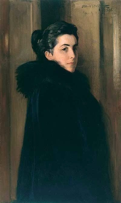 "Albert Edelfet: ""Portrait of Ellan Edelfelt"" - January 19th in 1888 Edelfelt married a rich heiress and beauty, Baroness Anna Elise (Ellan) de la Chapelle (1857-1921). Their son Erik was born in the end of 1888. The pair gradually drifted apart."