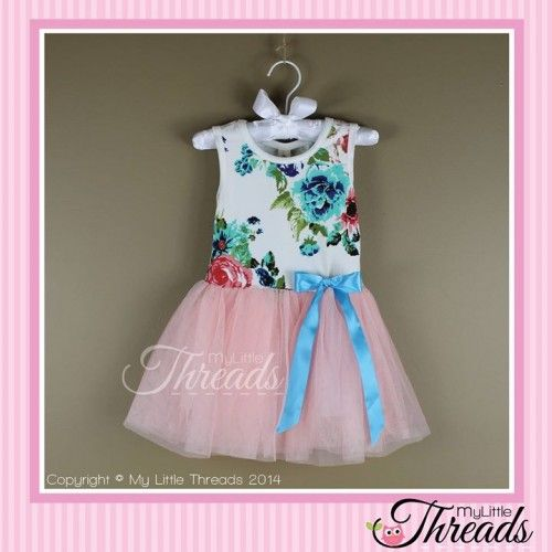 Carnation(light) Pink Floral Tutu Dress ***NOTE: Blue ribbon length may vary between dresses and sizes***Floral bodice with a blue bow detail and tulle skirt. Perfect for a day out at the park or running around the house causing mischief.