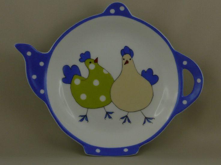 Repose-sachet en porcelaine, grand modèle, poules humoristiques... : Cuisine et service de table par porcelainement-votre