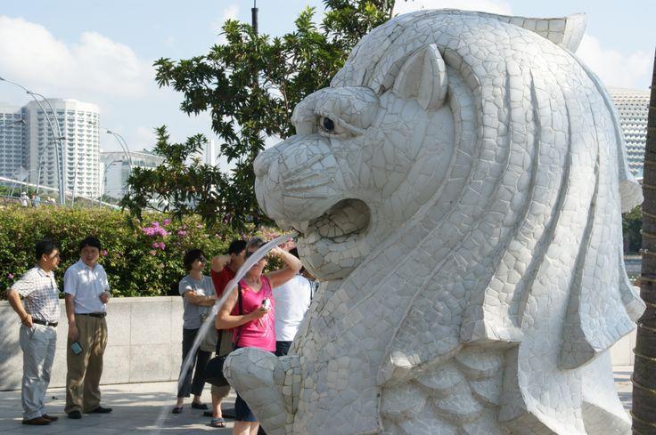 Merlion statue in Merlion Park, Singapore. October 2011