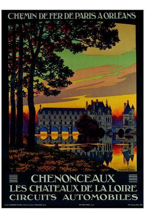 Chenonceaux Loire Chateau #vintageposter #vintageadvertising