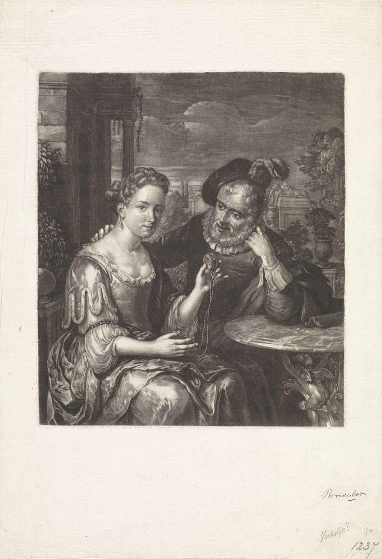 Jan Broedelet   Jonge vrouw en oude man, Jan Broedelet, 1670 - 1700   In een tuin zitten een oude man en een jonge vrouw. Zij heeft een medaillon in de hand en hij heeft zijn hand op haar schouder gelegd.