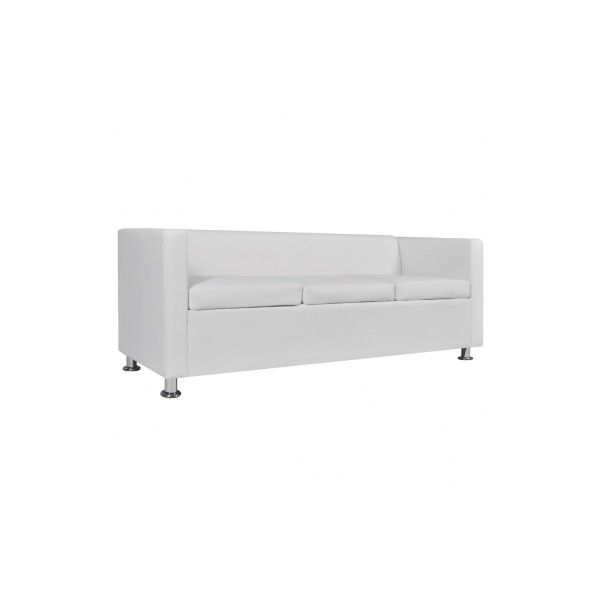 Artificial Leather 3 Seater Sofa White ($245) ❤ Liked On Polyvore Featuring  Home