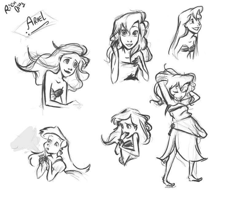 how to draw little mermaid characters