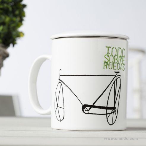 #Taza para #te con filtro Bici Alargada Un modelo de bicicleta que nuestros creativos estiraron de forma singular y que bien podría ser tándem. Especial para los amantes del deporte y las aventuras  sobre ruedas. Diseñadas e impresas por personas con #discapacidad intelectual. Tiene un filtro especial para que te las prepares con o sin bolsitas. Disponible en #Unnido: https://www.unnido.com/taza-te-filtro-bici-alargada.html