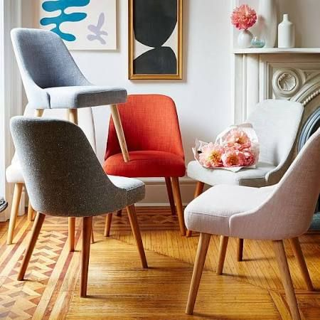 Mid-Century Upholstered Dining Chair, Platinum Linen Weave At West Elm - Dining Chairs - Kitchen Chairs