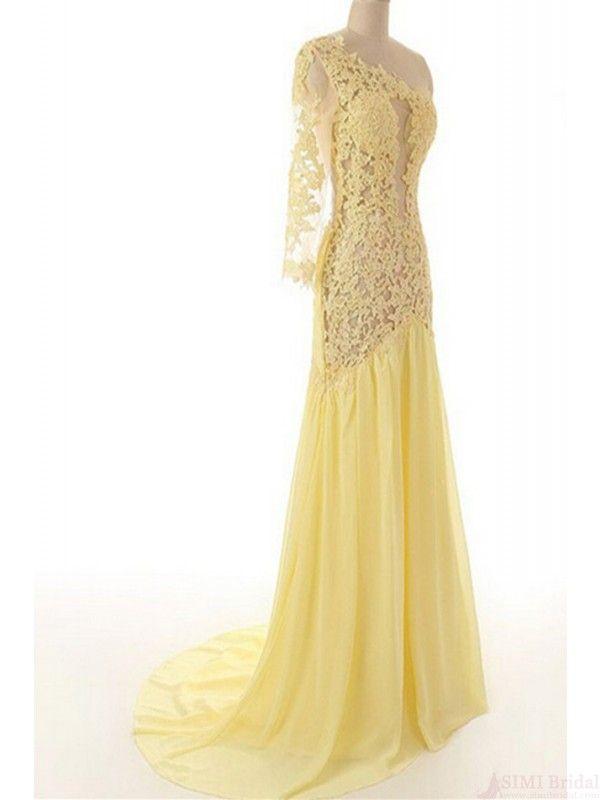 Sexy Prom Dress,One Shoulder Chiffon Yellow Prom Dress,Chiffon