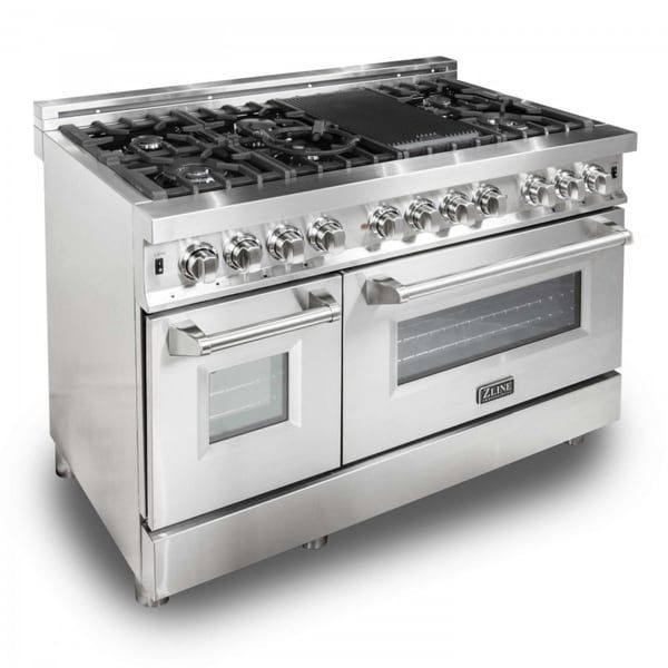 Zline 48 In 6 Cu Ft 7 Gas Burner Electric Oven Range In Stainless Steel Ra48 Kitchen Stove Dual Oven Oven Range