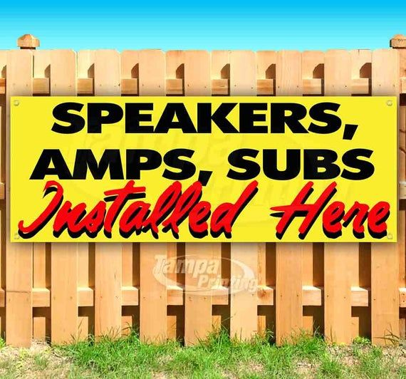 Many Sizes Available New SUBS Sold HERE 13 oz Heavy Duty Vinyl Banner Sign with Metal Grommets Advertising Speakers AMPS Flag, Store