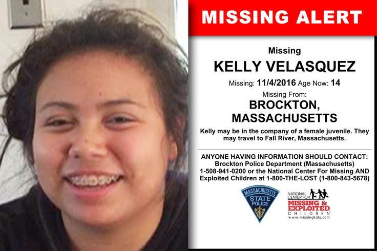 KELLY VELASQUEZ, Age Now: 14, Missing: 11/04/2016. Missing From BROCKTON, MA. ANYONE HAVING INFORMATION SHOULD CONTACT: Brockton Police Department (Massachusetts) 1-508-941-0200.