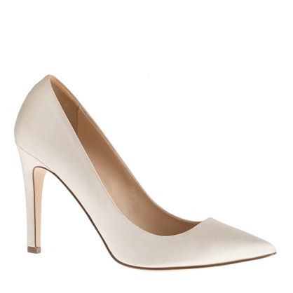 Classic wedding shoe. The color for the ivory underlay seems a good match.