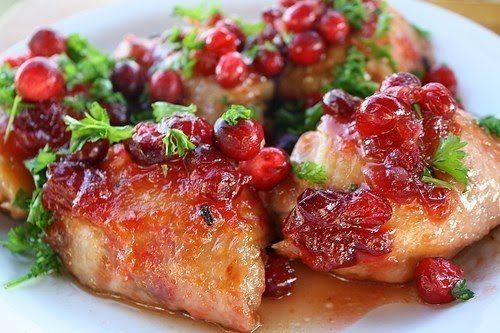 Chicken with cranberry sauce