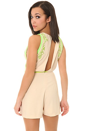 The Revenge is Sweet Romper in Neon Green and Tan>