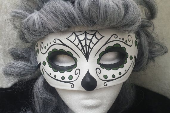 Day of the Dead Mask Green Spiderweb by EquinoxMasquerade on Etsy