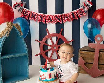 NAUTICAL BIRTHDAY BANNER / 1st birthday boy / by SweetGeorgiaSweet