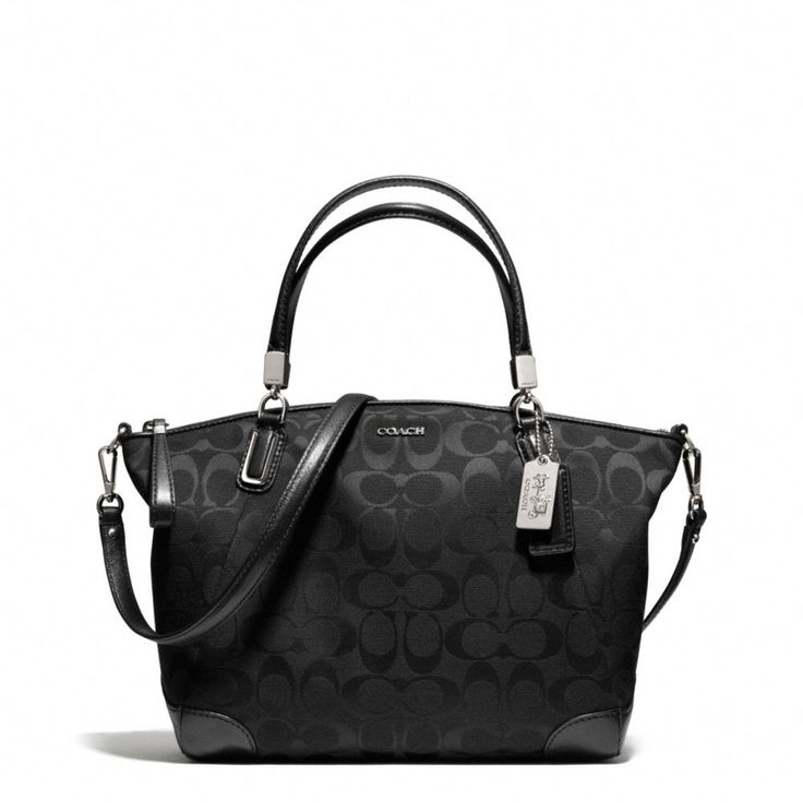 The Madison Small Kelsey Satchel In Signature Fabric from Coach My mom requested a black purse for Christmas which happens to also be her birthday