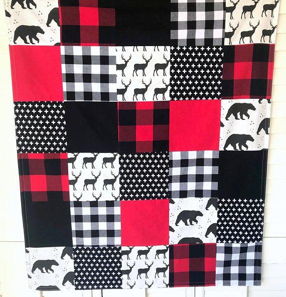 Baby Blanket Nursery Decor Minky Baby Blanket Baby Quilt Baby Boy Lumberjack Buffalo Plaid Red Whi Woodland Baby Bedding Woodland Baby Blanket Bear Nursery Boy