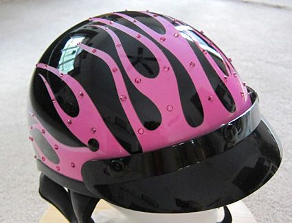 pink helmet with flames - Google Search