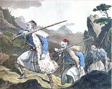 Σουλιώτες , χαλκογραφία του 19ου αιώνα.