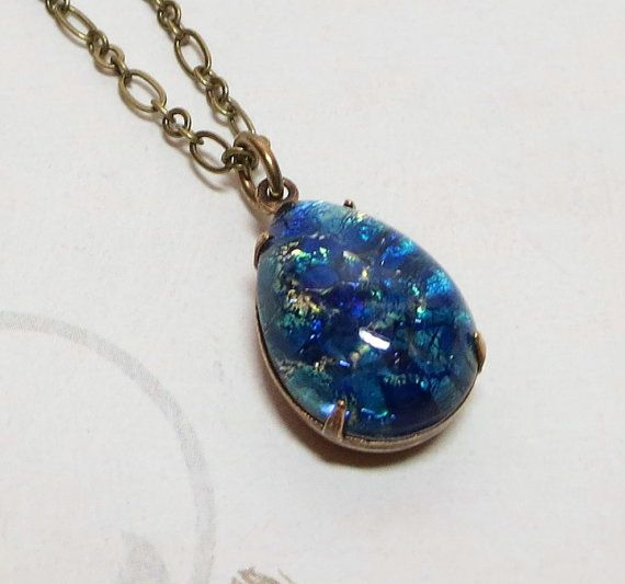 Blue Fire Opal Necklace Pendant Vintage Glass Jewel Green Blue Fire Opal Mystical Fantasy Jewelry Dragons Breath Art Deco on Etsy, $20.95
