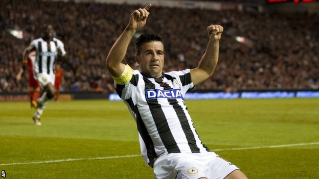 Antonio Di Natale delivered a virtuoso display as Udinese came from behind to stun Liverpool in the Europa League.