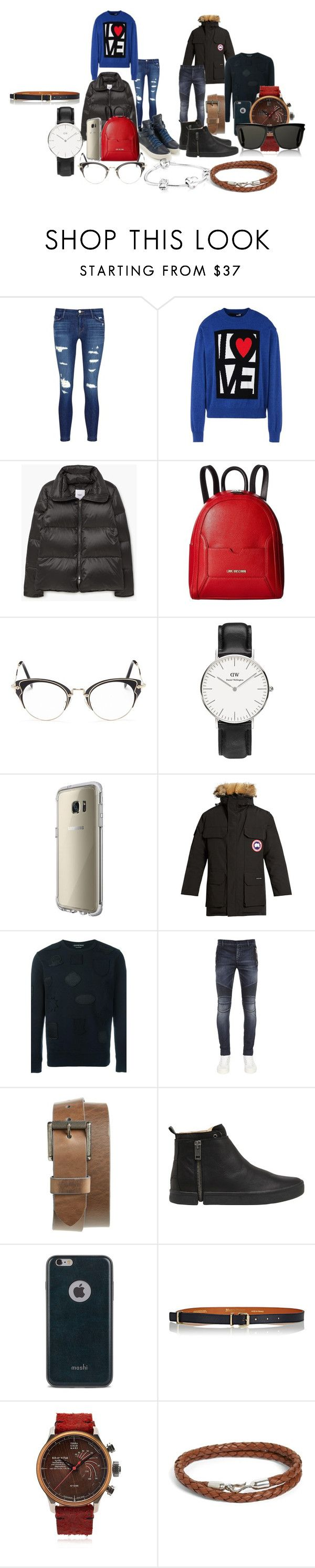 """:*"" by jelaxoxo ❤ liked on Polyvore featuring J Brand, Love Moschino, MANGO, Miu Miu, Daniel Wellington, Canada Goose, Alexander McQueen, Balmain, 1901 and Diesel"