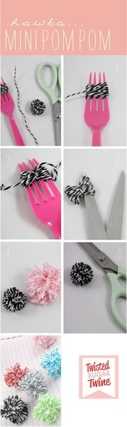 Mini pom poms with bakers twine and a plastic fork. So simple