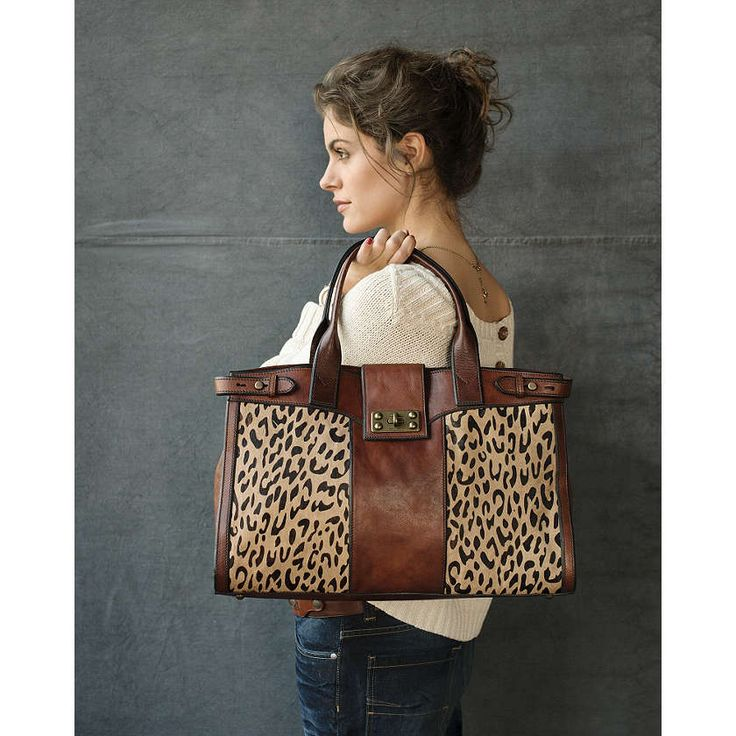 Fossil leather and cheetah bag