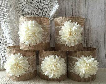 10 x arpillera rústica y encaje cubiertos vasos tarro por PinKyJubb