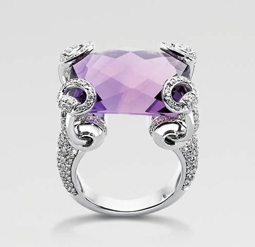 b45df51d4 Gucci Horsebit Amethyst Cocktail Ring - 18k white gold, amethyst 12 carats,  195 diamonds 0.90 ttl carats | Rings | Jewelry, Purple jewelry, Fashion  rings