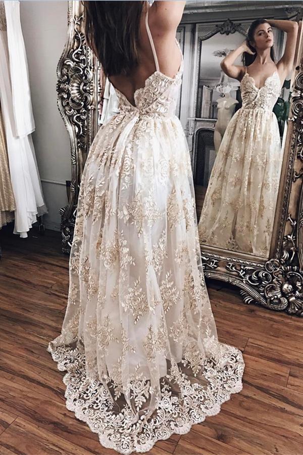 6c8d14dddb8 Elegant Sparkly Long Lace Spaghetti Straps V-neck Open Back Prom Dresses  Z0376
