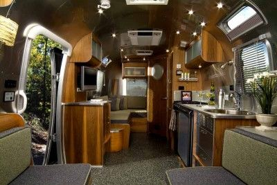 Wood interior of this Airstream Trailer is to die for! #PureBond #wood #decor