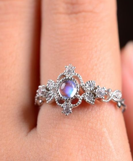 blue moonstone art deco promise ring/ engagement ring