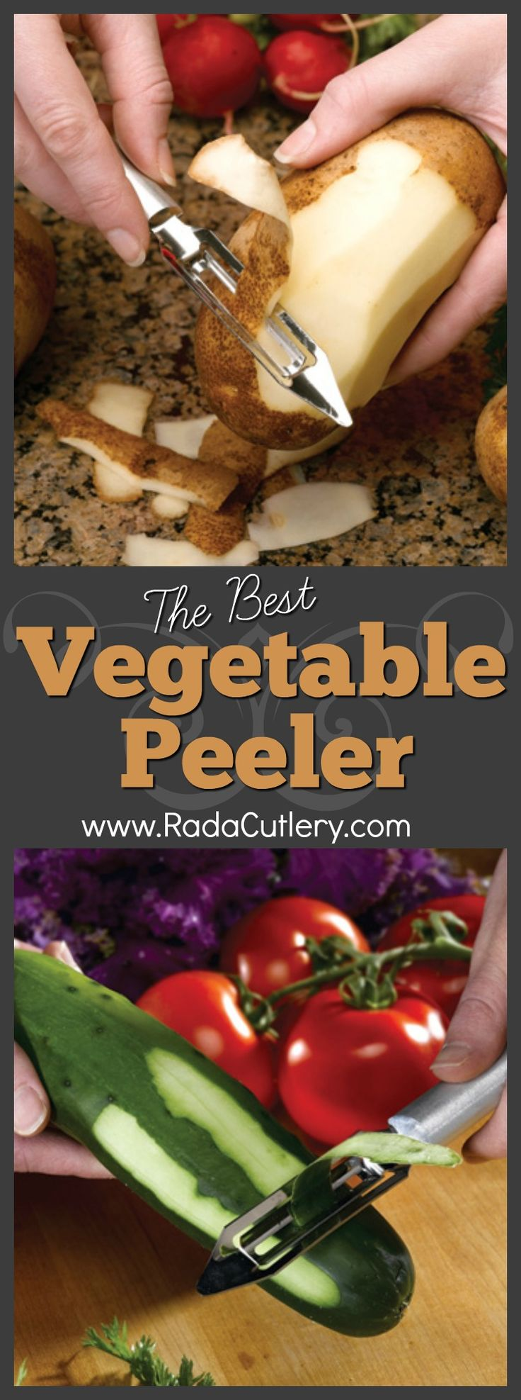 The Rada Cutlery Vegetable Peeler is one of our most popular and celebrated products, and with good reason.   This invaluable tool is the best vegetable peeler you can find.    This stainless steel vegetable peeler features a surgical-quality, high-carbon blade for easy peeling of a wide variety of vegetables, including carrots, cucumbers, or potatoes. Don't let the name fool you, though, as it's equally useful at peeling fruits such as apples or peaches. It's also useful for making…