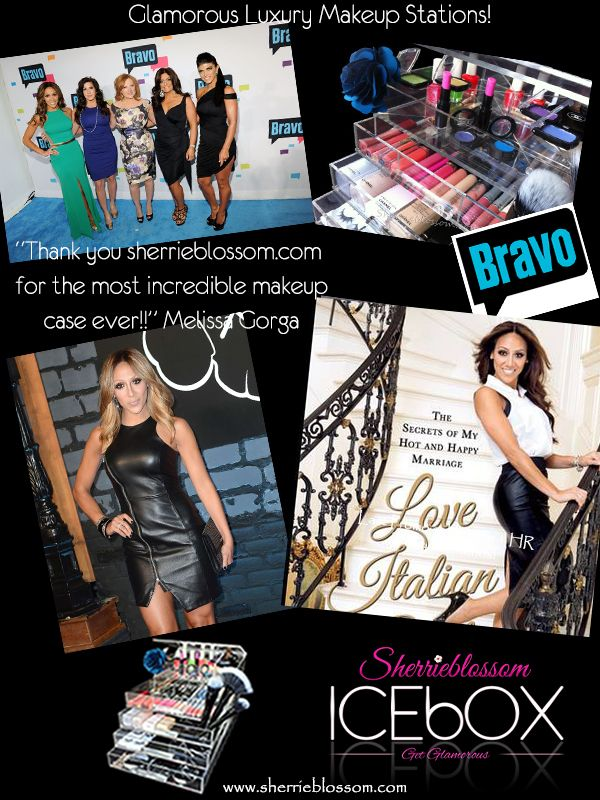 Melissa Gorga and her love for it all! She uses the ICEbOX WIDE on her home vanity. Every busy mom needs an easy way to get glammed up each morning. Start your mornings off right by ordering your ICEbOX today. www.sherrieblossom.com