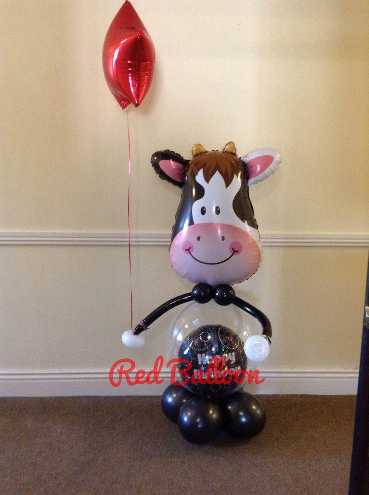 Gift, cow, balloon, valentines, cork, red balloon,