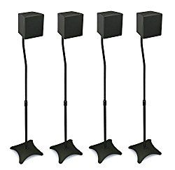 Mount-It! MI-1214 Speaker Stands for Home Theater 5.1 Channel Surround Sound System Satellite Speaker Stands Mounts, Rear and Front, 2 Pairs, 10 lb Capacity, Black