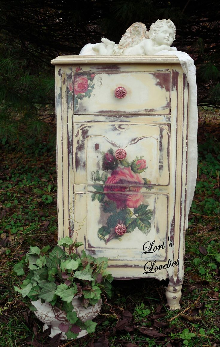 shabby chic, rose, paint, nightstand, cherub, distressed, vintage, white, romantic, #vintageshabbychicfurniture