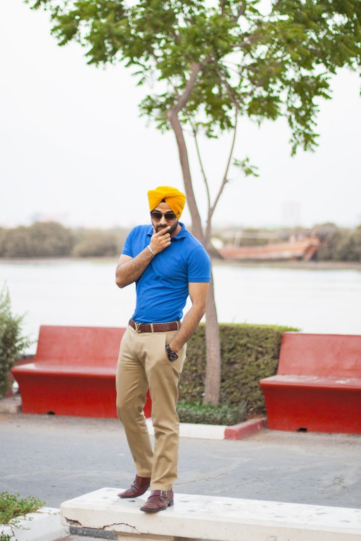 Men's Fashion Sikh Fashion menswear street style mens urban sardar turban Sikh Singh  yellow office blue polo summer