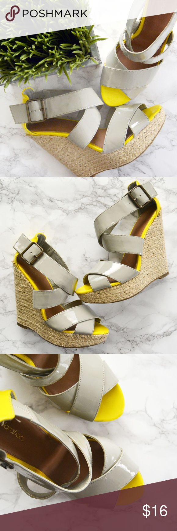 Yellow & Grey Espadrilles Summer just got better with these yellow & light grey espadrilles! Patent leather straps with a buckle clasp detail at the ankle and a woven platform heel. Perfect summer shoes! Size 7. Worn twice. Xhilaration Shoes Espadrilles