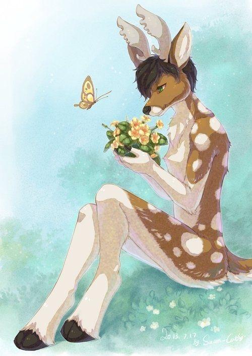 Naked Deer Girl Anime With Flowers Art Print By Tanooklings