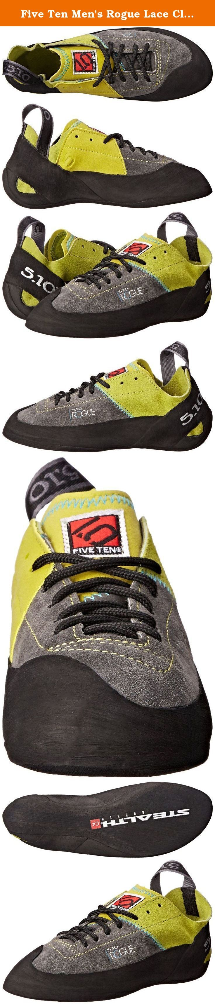 Five Ten Men's Rogue Lace Climbing Shoe,Green/Charcoal,5 M US. Five Ten, the Brand of the Brave, is a leader in performance, high-friction footwear. From downhill mountain bike racing to rock climbing, from wing suit flying to kayaking, Five Ten makes footwear for the world's most dangerous sports. The Redlands, California-based company has been producing cutting-edge designs and proprietary Stealth rubber soles for nearly 30 years. With the help of top national and international athletes...
