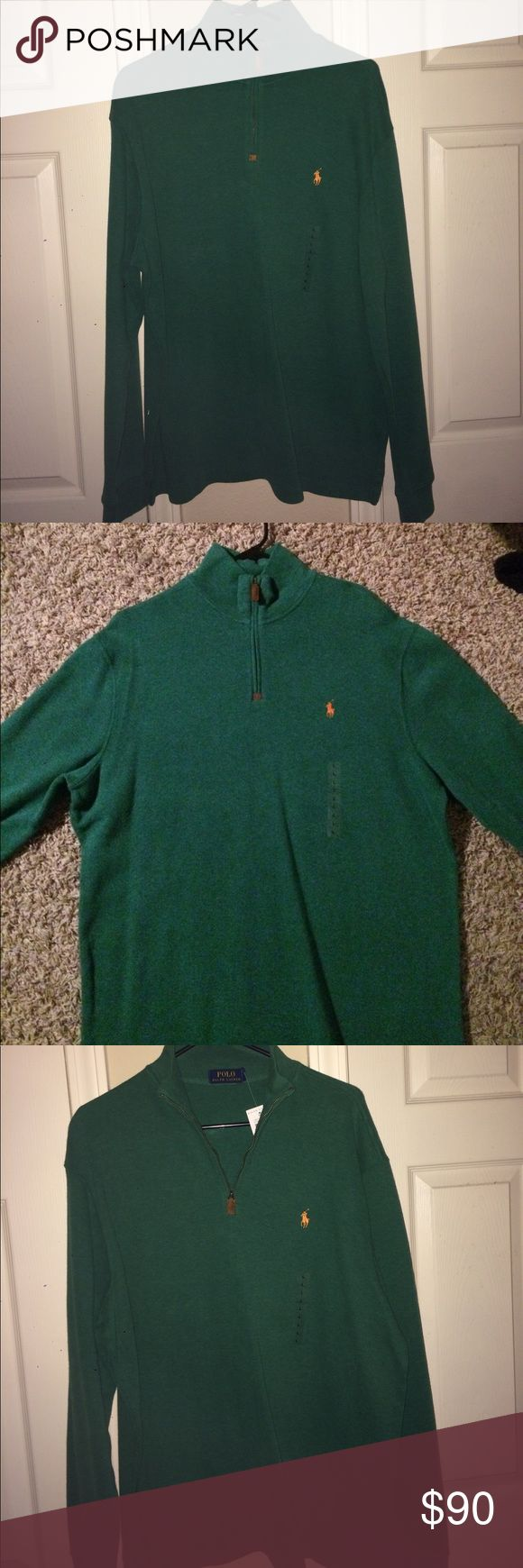 Men's Ralph Lauren Polo pullover New with tags. Large, green w/orange horse pull over. Perfect condition! Give me an offer! Polo by Ralph Lauren Sweaters Zip Up