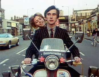 "Still from the film ""Quadraphenia"", based on The Who's rock operetic homage to 1964 London. (Note the six mirrors on his scooter.)"