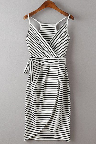 Stylish Spaghetti Strap Stripe Print Lace-Up Dress For Women