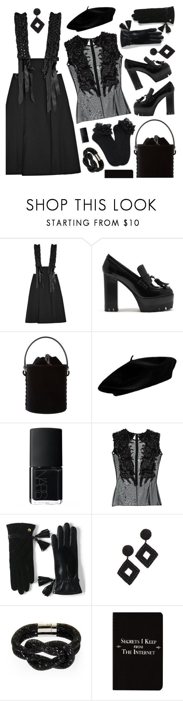 """""""Monochrome: All Black Everything II"""" by jychooi ❤ liked on Polyvore featuring Noir Kei Ninomiya, Mulberry, Meli Melo, NARS Cosmetics, Veil London, Lands' End, Kenneth Jay Lane, Swarovski, Rich and Damned and allblack"""