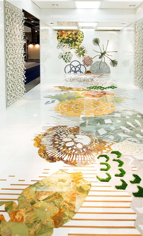 Budri marble inlaid floor. #bold