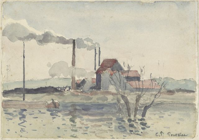 Camille Pissarro, 'Factory on the Oise at Pontoise', 1873, National Gallery of Art, Washington, D.C. | Artsy